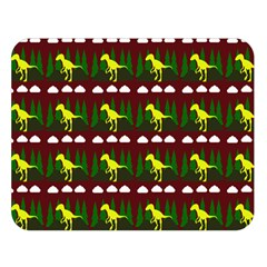 Dino In The Mountains Red Double Sided Flano Blanket (large)
