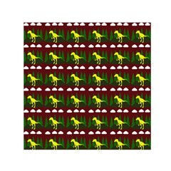 Dino In The Mountains Red Small Satin Scarf (square)