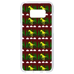 Dino In The Mountains Red Samsung Galaxy S8 White Seamless Case