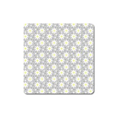 Daisy Dots Grey Square Magnet
