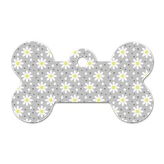 Daisy Dots Grey Dog Tag Bone (one Side)