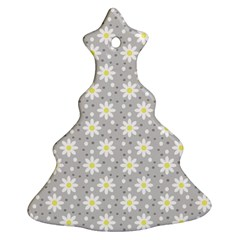Daisy Dots Grey Christmas Tree Ornament (two Sides)