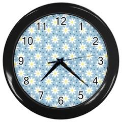 Daisy Dots Light Blue Wall Clocks (black)