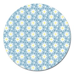 Daisy Dots Light Blue Magnet 5  (round)