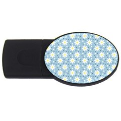 Daisy Dots Light Blue Usb Flash Drive Oval (2 Gb)
