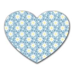Daisy Dots Light Blue Heart Mousepads
