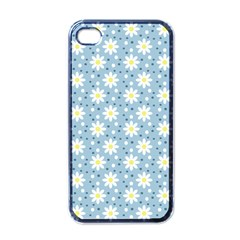 Daisy Dots Light Blue Apple Iphone 4 Case (black)