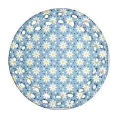 Daisy Dots Light Blue Round Filigree Ornament (two Sides)
