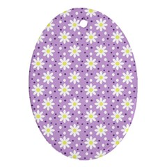 Daisy Dots Lilac Ornament (oval)