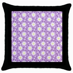 Daisy Dots Lilac Throw Pillow Case (black)