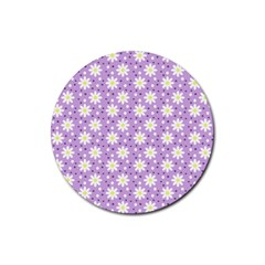 Daisy Dots Lilac Rubber Round Coaster (4 Pack)