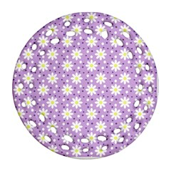Daisy Dots Lilac Round Filigree Ornament (two Sides)