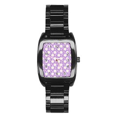 Daisy Dots Lilac Stainless Steel Barrel Watch