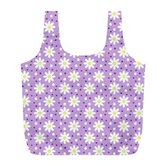 Daisy Dots Lilac Full Print Recycle Bags (l)