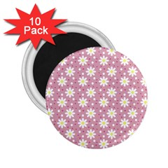 Daisy Dots Pink 2 25  Magnets (10 Pack)