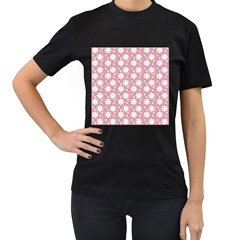 Daisy Dots Pink Women s T Shirt (black) (two Sided)