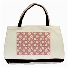 Daisy Dots Pink Basic Tote Bag