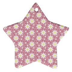 Daisy Dots Pink Star Ornament (two Sides)