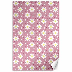 Daisy Dots Pink Canvas 24  X 36