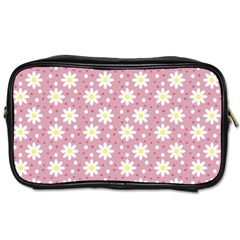 Daisy Dots Pink Toiletries Bags 2 Side