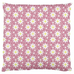 Daisy Dots Pink Large Cushion Case (one Side)