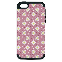 Daisy Dots Pink Apple Iphone 5 Hardshell Case (pc+silicone)