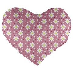 Daisy Dots Pink Large 19  Premium Heart Shape Cushions