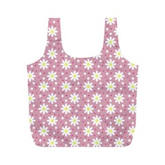 Daisy Dots Pink Full Print Recycle Bags (m)