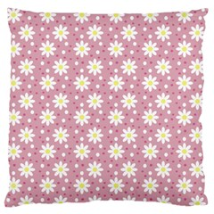 Daisy Dots Pink Large Flano Cushion Case (one Side)
