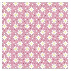 Daisy Dots Pink Large Satin Scarf (square)