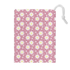 Daisy Dots Pink Drawstring Pouches (extra Large)