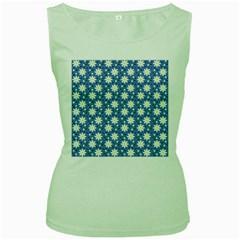 Daisy Dots Blue Women s Green Tank Top