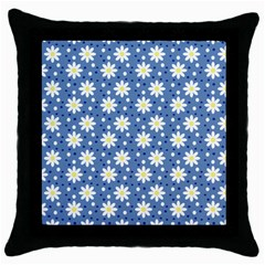 Daisy Dots Blue Throw Pillow Case (black)