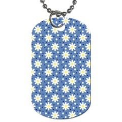 Daisy Dots Blue Dog Tag (one Side)