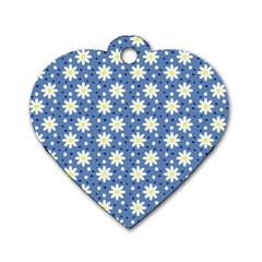 Daisy Dots Blue Dog Tag Heart (one Side)