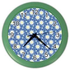 Daisy Dots Blue Color Wall Clocks