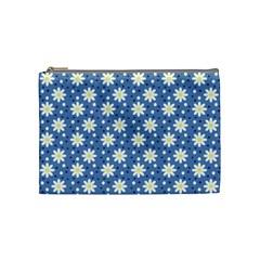 Daisy Dots Blue Cosmetic Bag (medium)