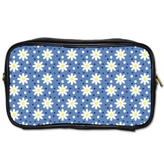 Daisy Dots Blue Toiletries Bags 2 Side