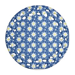 Daisy Dots Blue Round Filigree Ornament (two Sides)