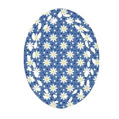 Daisy Dots Blue Oval Filigree Ornament (two Sides)