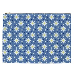 Daisy Dots Blue Cosmetic Bag (xxl)