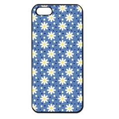 Daisy Dots Blue Apple Iphone 5 Seamless Case (black)