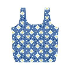 Daisy Dots Blue Full Print Recycle Bags (m)