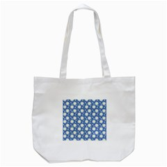 Daisy Dots Blue Tote Bag (white)