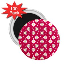 Daisy Dots Light Red 2 25  Magnets (100 Pack)