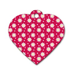 Daisy Dots Light Red Dog Tag Heart (one Side)