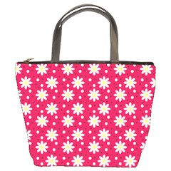 Daisy Dots Light Red Bucket Bags