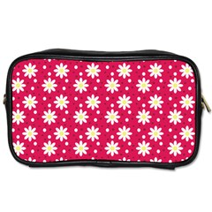 Daisy Dots Light Red Toiletries Bags 2 Side