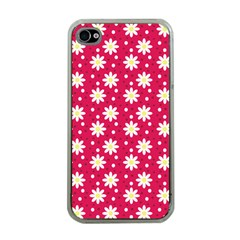 Daisy Dots Light Red Apple Iphone 4 Case (clear)