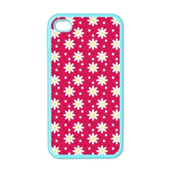Daisy Dots Light Red Apple Iphone 4 Case (color)